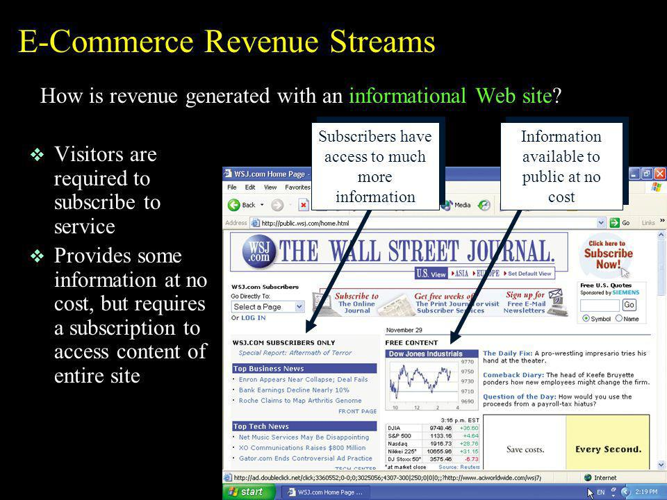 E-Commerce Revenue Streams How is revenue generated with an informational Web site? v Visitors are required to subscribe to service v Provides some in