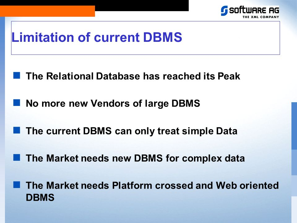 Features of a relational DBMS Data Store Kernel SQL-Engine API Client - Server Architecture ODBC, JDBC Drivers Security Transaction and Isolation Multi User and Multi Session