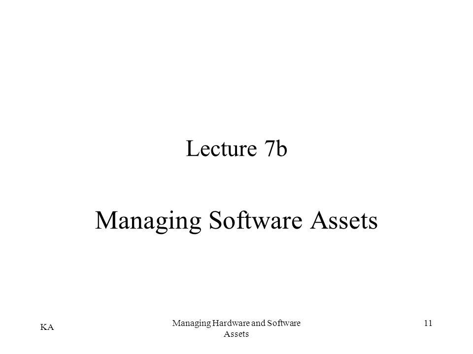KA Managing Hardware and Software Assets 11 Lecture 7b Managing Software Assets