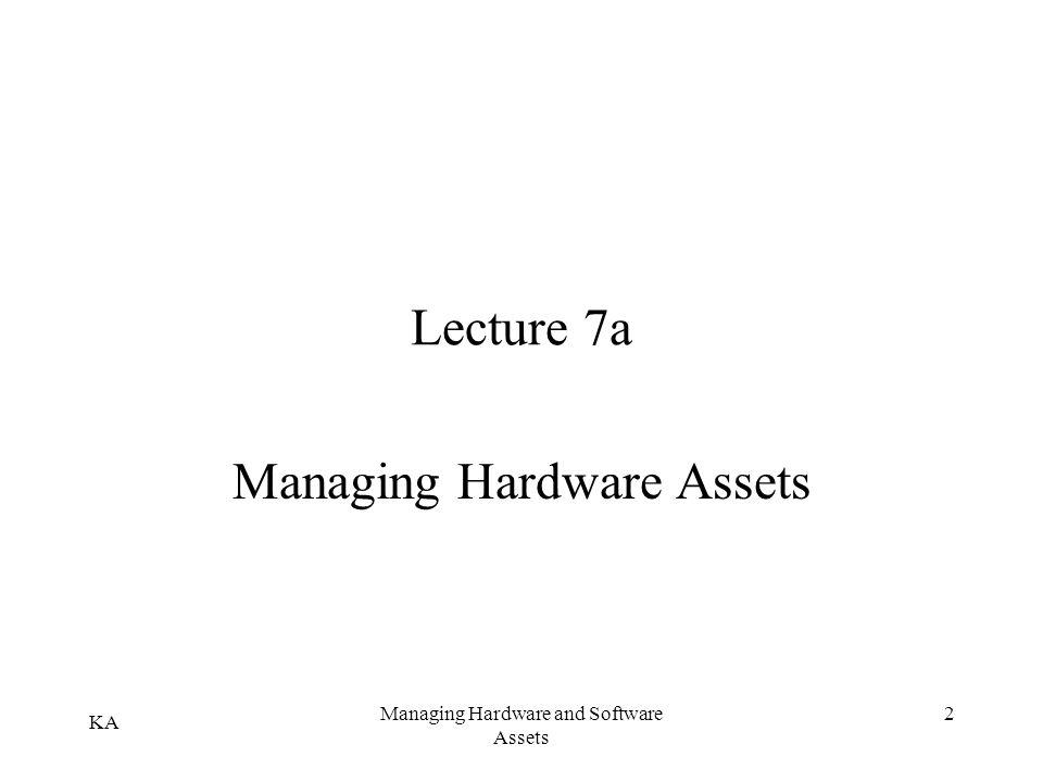 KA Managing Hardware and Software Assets 2 Lecture 7a Managing Hardware Assets