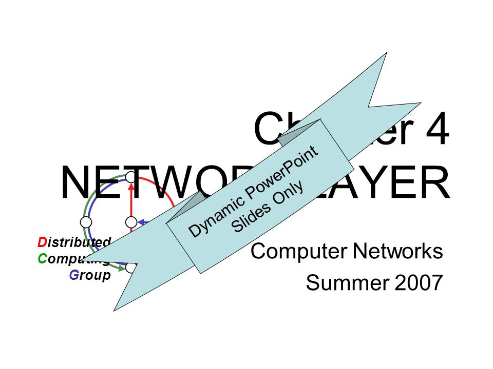 Chapter 4 NETWORK LAYER Computer Networks Summer 2007 Distributed Computing Group Dynamic PowerPoint Slides Only