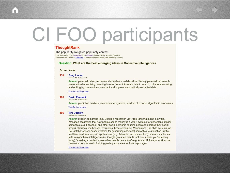 CI FOO participants