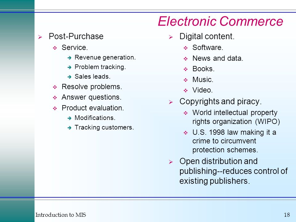 Introduction to MIS18 Electronic Commerce Post-Purchase Service.