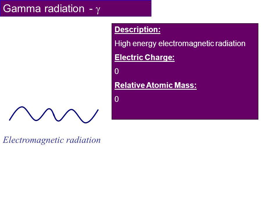Gamma radiation - Electromagnetic radiation Description: High energy electromagnetic radiation Electric Charge: 0 Relative Atomic Mass: 0