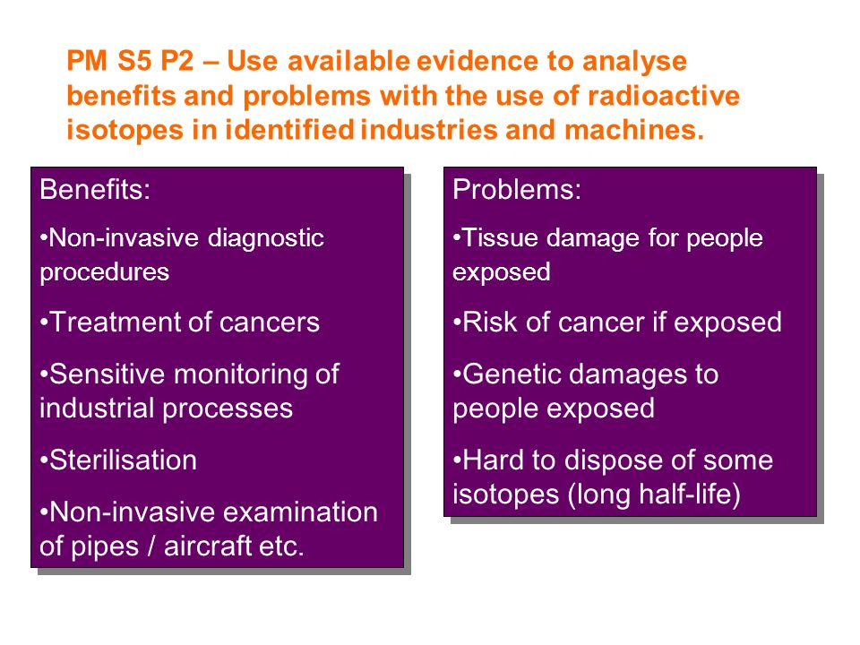 PM S5 P2 – Use available evidence to analyse benefits and problems with the use of radioactive isotopes in identified industries and machines. Benefit