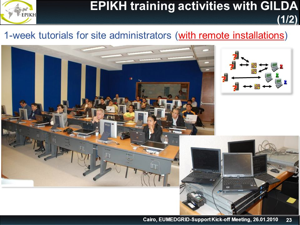 Cairo, EUMEDGRID-Support Kick-off Meeting, EPIKH training activities with GILDA (1/2) 1-week tutorials for site administrators (with remote installations)
