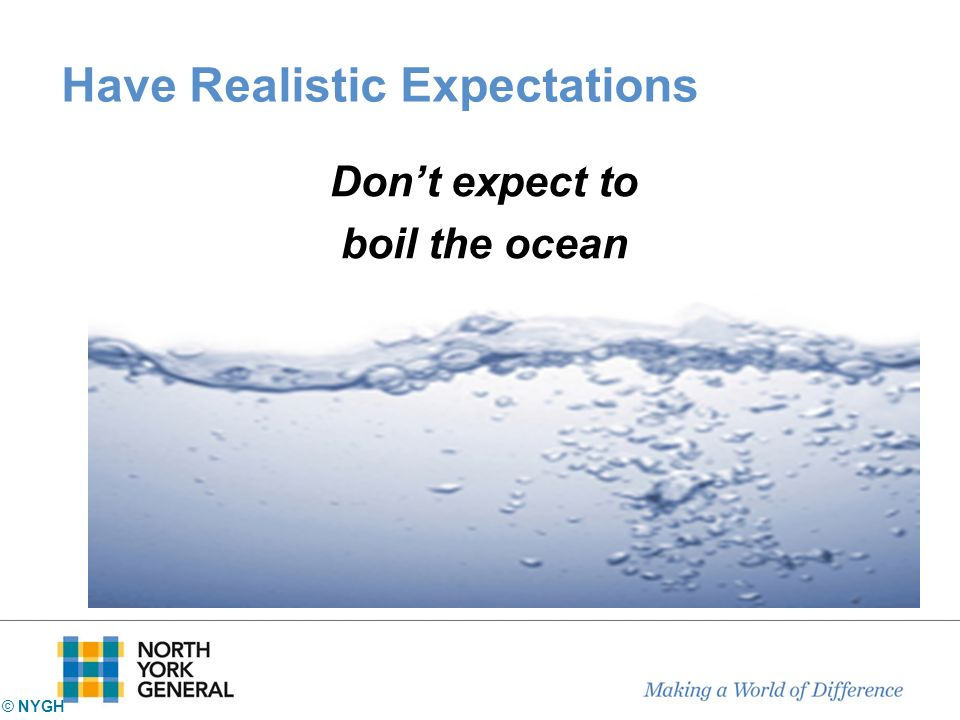 Have Realistic Expectations Dont expect to boil the ocean © NYGH