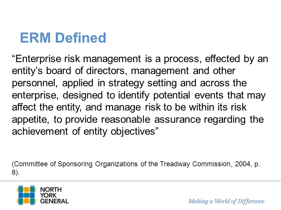 ERM Defined Enterprise risk management is a process, effected by an entitys board of directors, management and other personnel, applied in strategy se