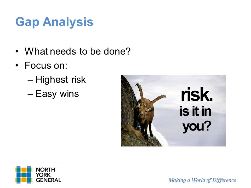 Gap Analysis What needs to be done? Focus on: –Highest risk –Easy wins