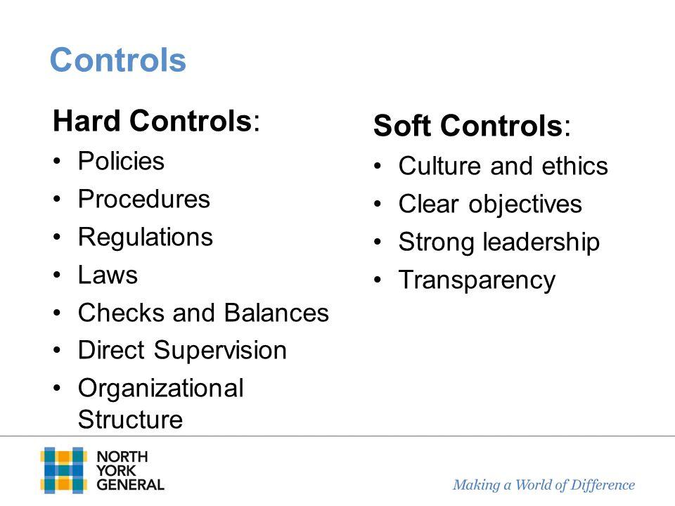 Controls Hard Controls: Policies Procedures Regulations Laws Checks and Balances Direct Supervision Organizational Structure Soft Controls: Culture an