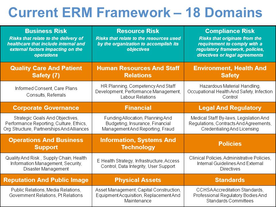 Current ERM Framework – 18 Domains Business Risk Risks that relate to the delivery of healthcare that include internal and external factors impacting