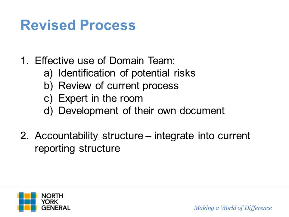 Revised Process 1.Effective use of Domain Team: a)Identification of potential risks b)Review of current process c)Expert in the room d)Development of