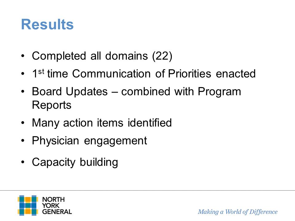 Results Completed all domains (22) 1 st time Communication of Priorities enacted Board Updates – combined with Program Reports Many action items ident