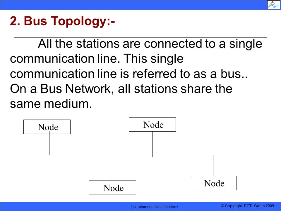 © Copyright PCTI Group 2009 | | 2. Bus Topology:- All the stations are connected to a single communication line. This single communication line is ref