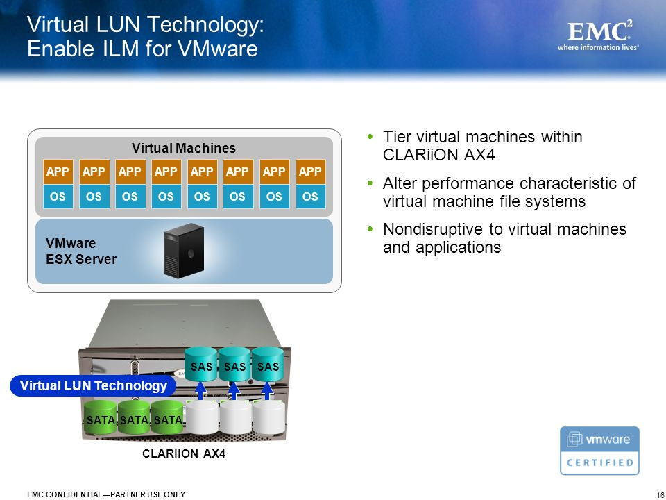 16 EMC CONFIDENTIALPARTNER USE ONLY Virtual LUN Technology: Enable ILM for VMware Tier virtual machines within CLARiiON AX4 Alter performance characte