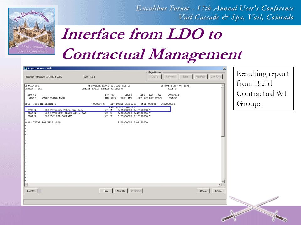 Interface from LDO to Contractual Management Resulting report from Build Contractual WI Groups