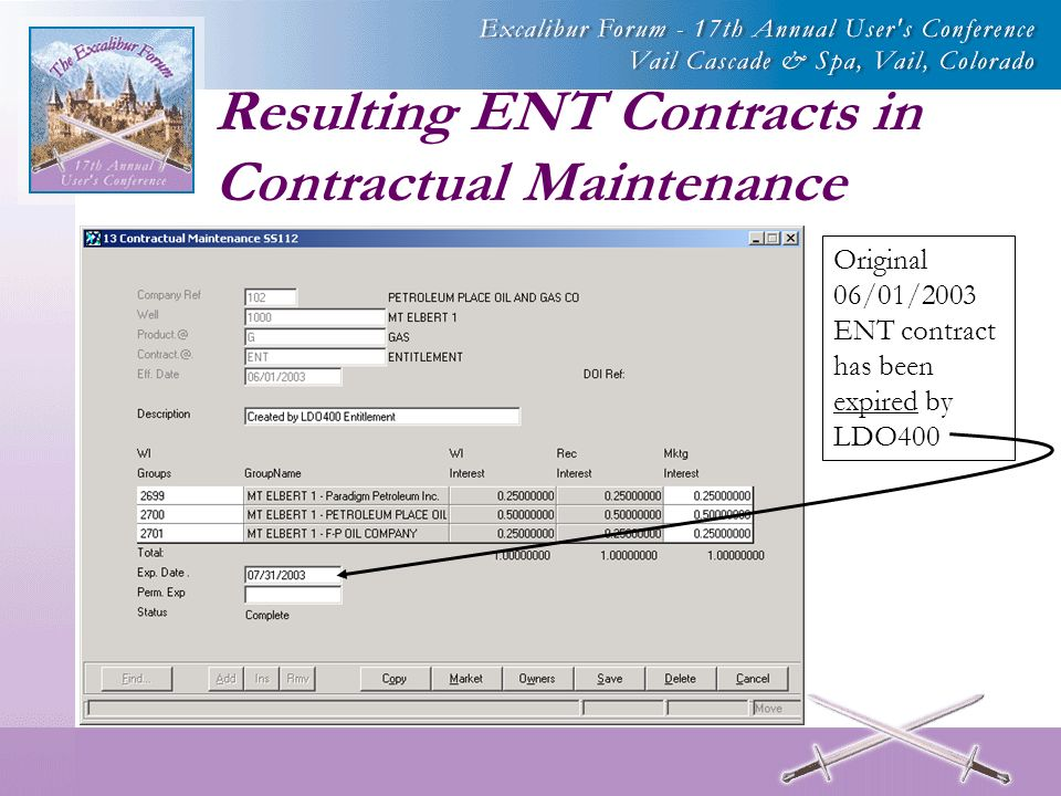 Resulting ENT Contracts in Contractual Maintenance Original 06/01/2003 ENT contract has been expired by LDO400