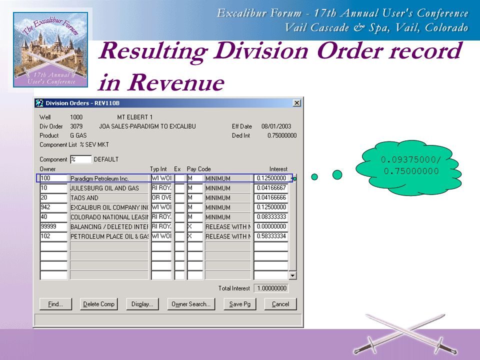 Resulting Division Order record in Revenue /