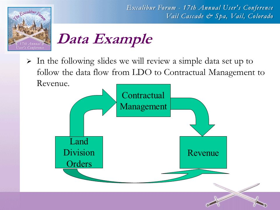 Data Example In the following slides we will review a simple data set up to follow the data flow from LDO to Contractual Management to Revenue.
