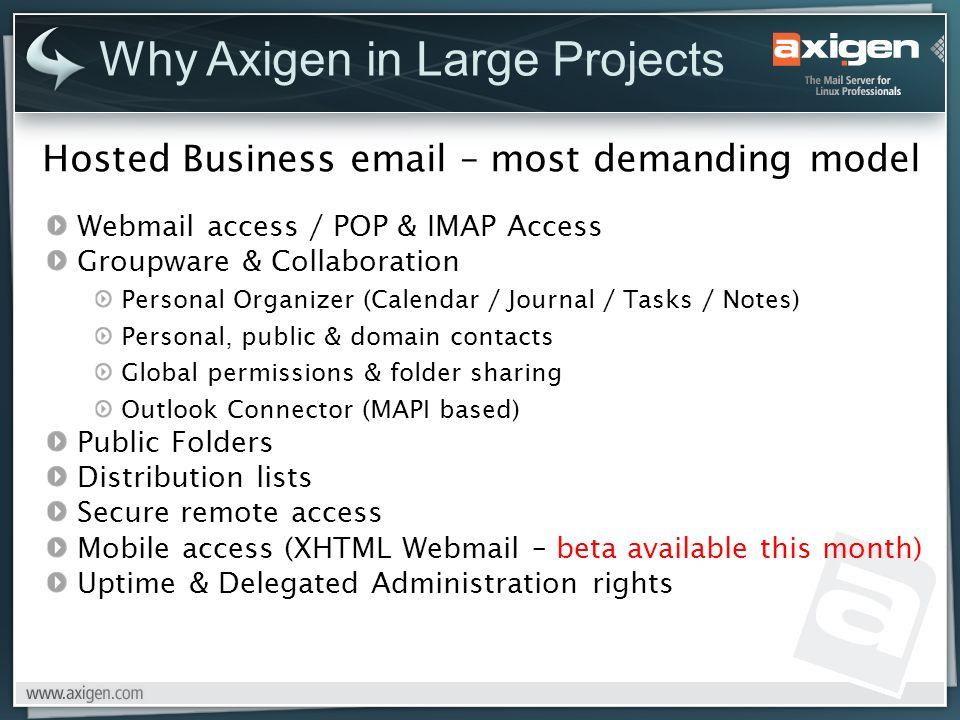 Hosted Business email – most demanding model Webmail access / POP & IMAP Access Groupware & Collaboration Personal Organizer (Calendar / Journal / Tas