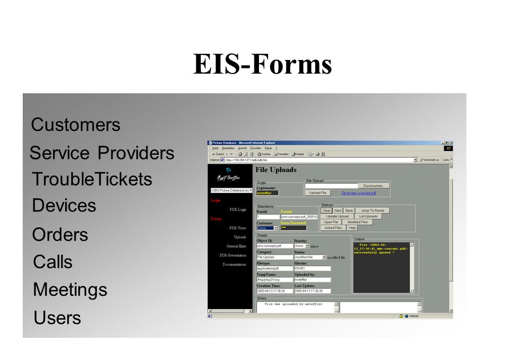 EIS Form Generator Automatic integration in EIS Application #genform formname password >create tables >create indexes >create HTML-forms
