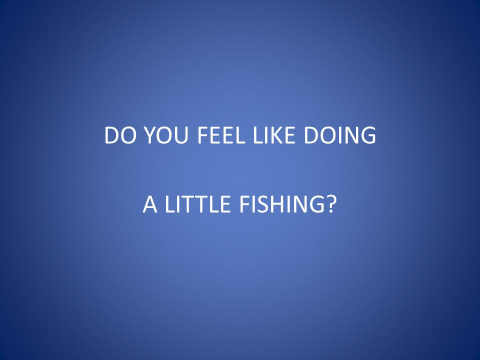 DO YOU FEEL LIKE DOING A LITTLE FISHING?