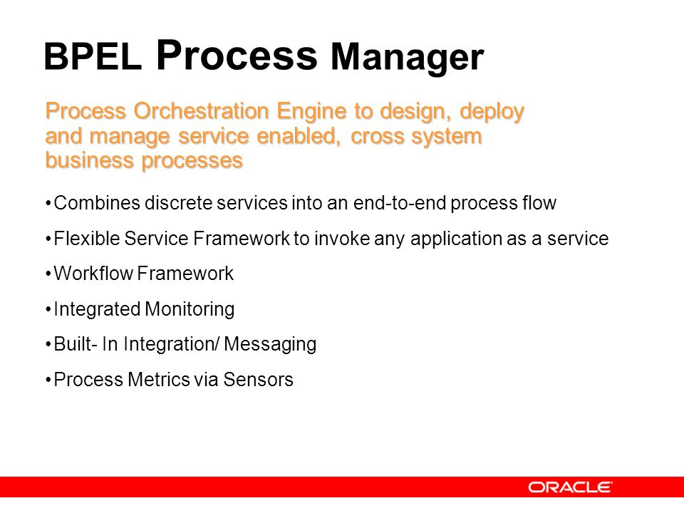 24 BPEL Process Manager Process Orchestration Engine to design, deploy and manage service enabled, cross system business processes Combines discrete s