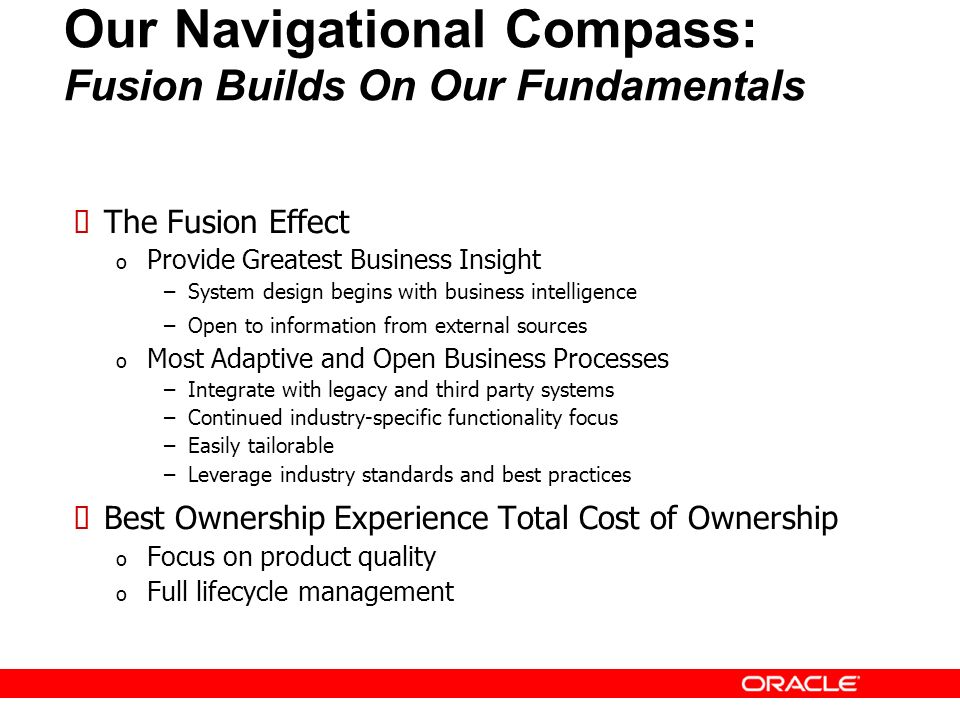 39 Our Navigational Compass: Fusion Builds On Our Fundamentals The Fusion Effect o Provide Greatest Business Insight –System design begins with busine