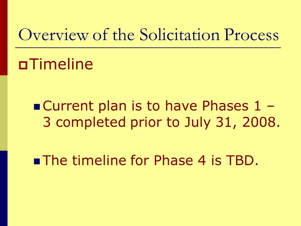 Overview of the Solicitation Process Timeline Current plan is to have Phases 1 – 3 completed prior to July 31, 2008. The timeline for Phase 4 is TBD.