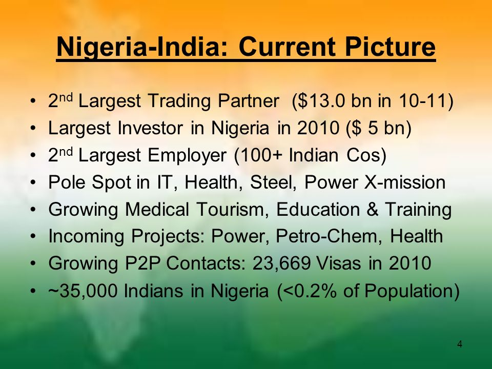 Nigeria-India: Current Picture 2 nd Largest Trading Partner ($13.0 bn in 10-11) Largest Investor in Nigeria in 2010 ($ 5 bn) 2 nd Largest Employer (10