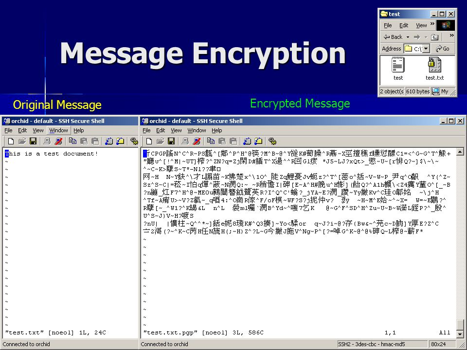 CSC1720 – Introduction to Internet All copyrights reserved by C.C. Cheung 2003. 15 Message Encryption Original Message Encrypted Message