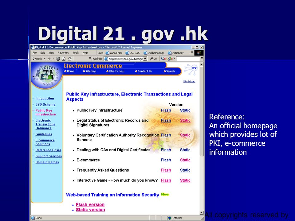 CSC1720 – Introduction to Internet All copyrights reserved by C.C. Cheung 2003. 37 Digital 21. gov.hk Reference: An official homepage which provides l