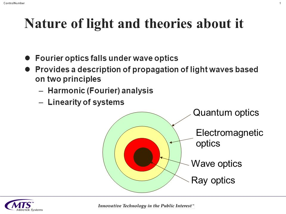 1 ControlNumber Nature of light and theories about it Fourier optics falls under wave optics Provides a description of propagation of light waves base