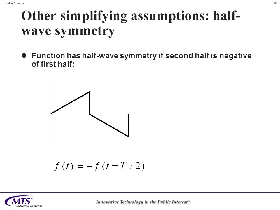16ControlNumber Other simplifying assumptions: half- wave symmetry Function has half-wave symmetry if second half is negative of first half:
