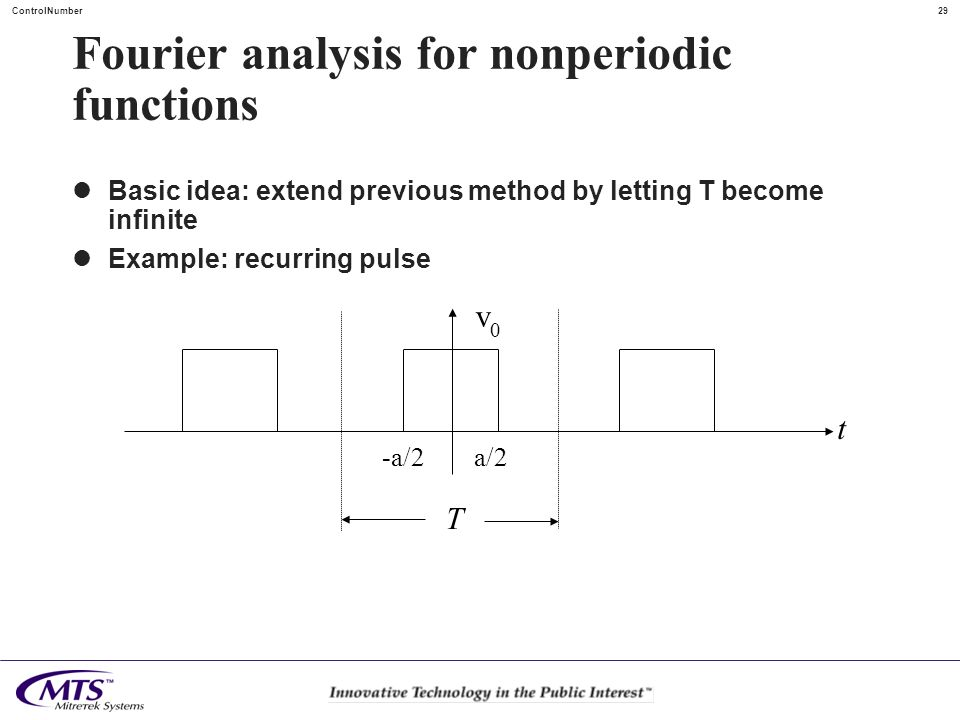 29ControlNumber Fourier analysis for nonperiodic functions Basic idea: extend previous method by letting T become infinite Example: recurring pulse t