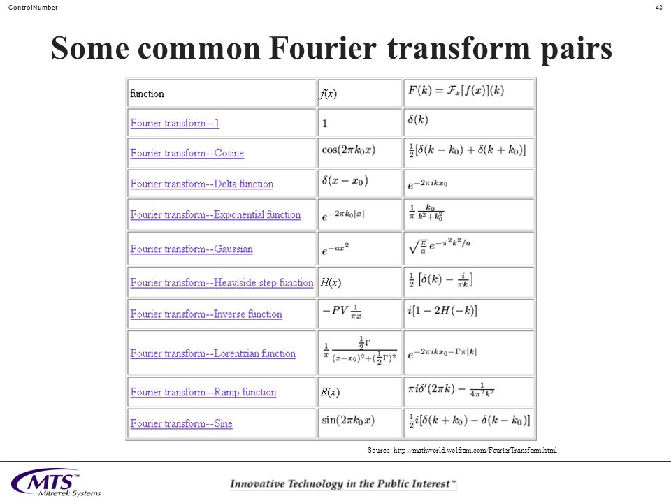 43ControlNumber Some common Fourier transform pairs Source: http://mathworld.wolfram.com/FourierTransform.html