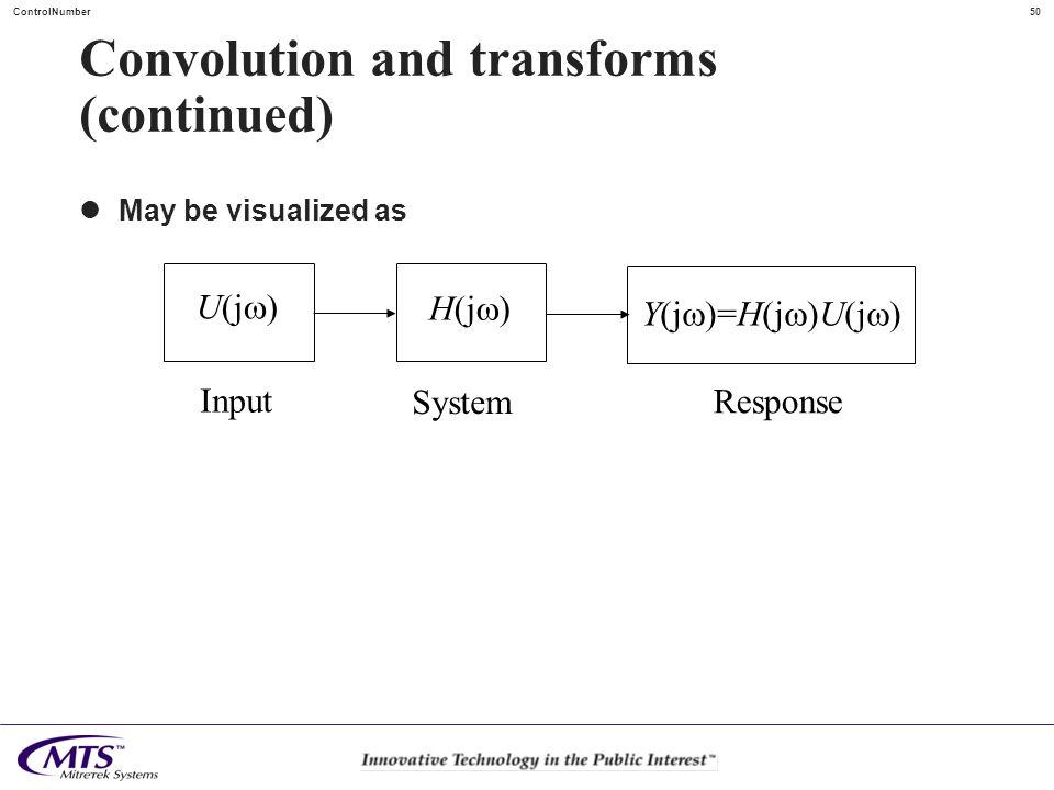 50ControlNumber Convolution and transforms (continued) May be visualized as H(j ) U(j ) Y(j )=H(j )U(j ) System Input Response