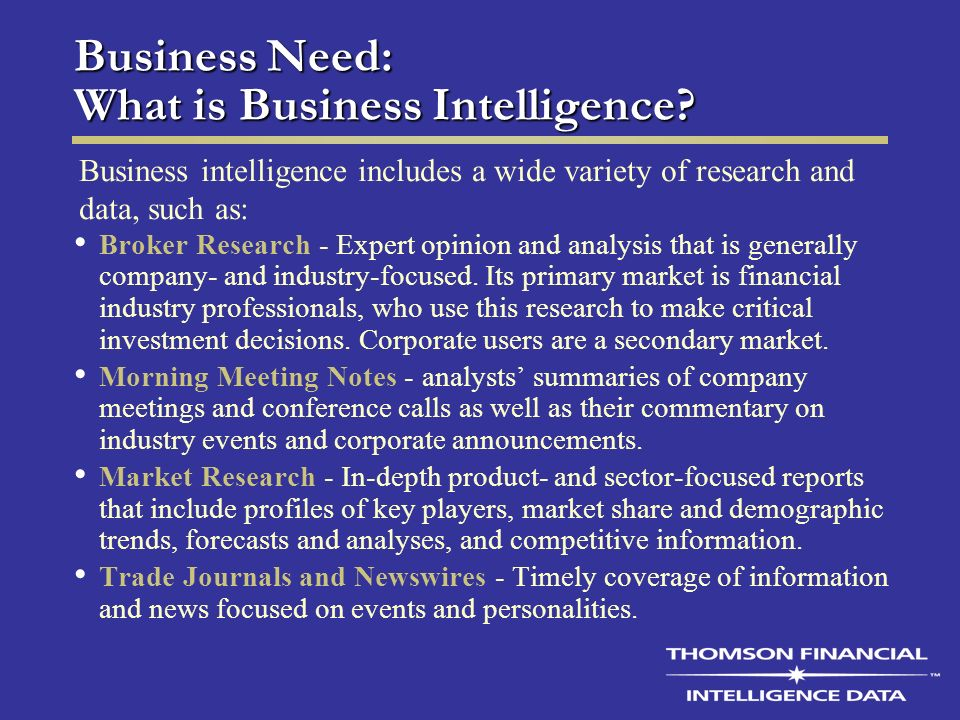 Business Need: What is Business Intelligence.