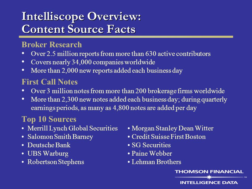 Intelliscope Overview: Content Source Facts Broker Research Over 2.5 million reports from more than 630 active contributors Covers nearly 34,000 companies worldwide More than 2,000 new reports added each business day First Call Notes Over 3 million notes from more than 200 brokerage firms worldwide More than 2,300 new notes added each business day; during quarterly earnings periods, as many as 4,800 notes are added per day Top 10 Sources Merrill Lynch Global Securities Morgan Stanley Dean Witter Salomon Smith Barney Credit Suisse First Boston Deutsche Bank SG Securities UBS Warburg Paine Webber Robertson Stephens Lehman Brothers