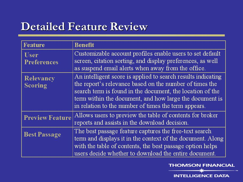 Detailed Feature Review User Preferences Preview Feature Best Passage Relevancy Scoring