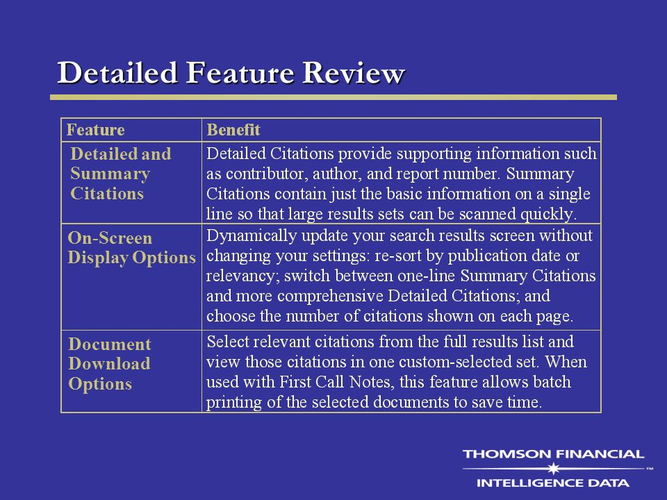 Detailed Feature Review Document Download Options On-Screen Display Options Detailed and Summary Citations