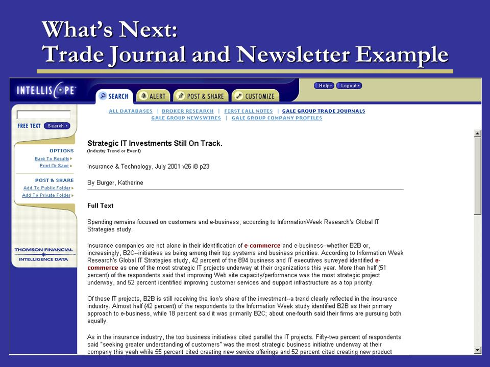 Whats Next: Trade Journal and Newsletter Example