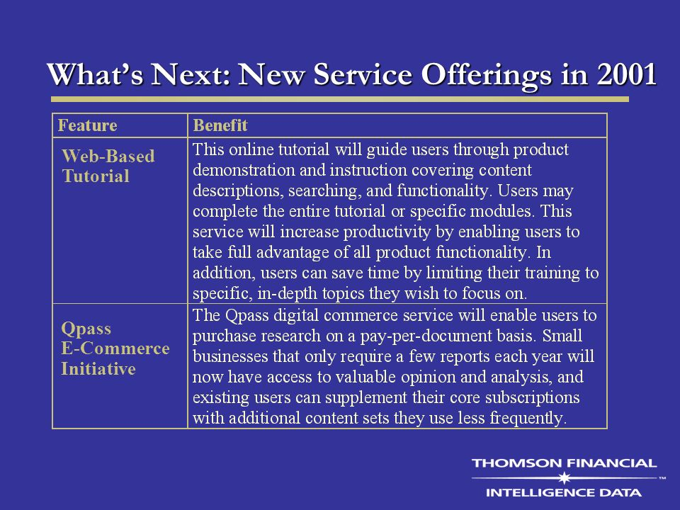 Whats Next: New Service Offerings in 2001 Qpass E-Commerce Initiative Web-Based Tutorial