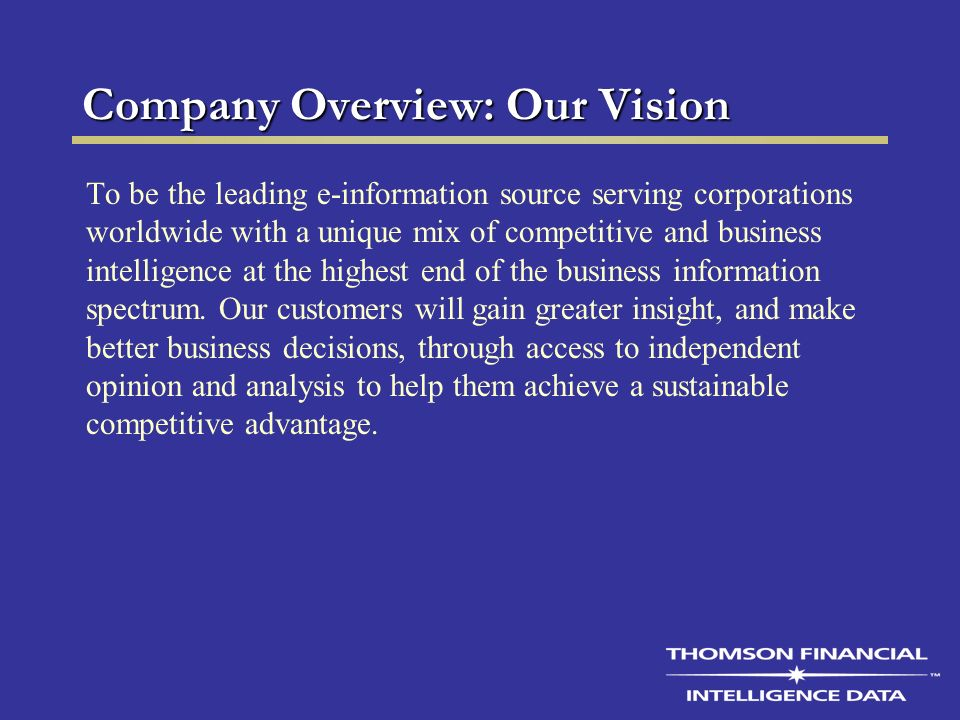 Company Overview: Our Vision To be the leading e-information source serving corporations worldwide with a unique mix of competitive and business intelligence at the highest end of the business information spectrum.