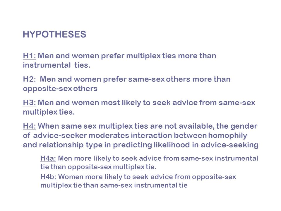 HYPOTHESES H1: Men and women prefer multiplex ties more than instrumental ties.