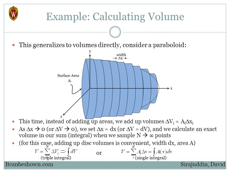Example: Calculating Volume This generalizes to volumes directly, consider a paraboloid: This time, instead of adding up areas, we add up volumes V i = A i x i As x 0 (or V 0), we set x = dx (or V = dV), and we calculate an exact volume in our sum (integral) when we sample N points (for this case, adding up disc volumes is convenient, width dx, area A) Sirajuddin, David Itcanbeshown.com or (triple integral)(single integral)