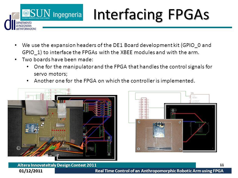 Altera InnovateItaly Design Contest 2011 Real Time Control of an Anthropomorphic Robotic Arm using FPGA 01/12/2011 InterfacingFPGAs Interfacing FPGAs