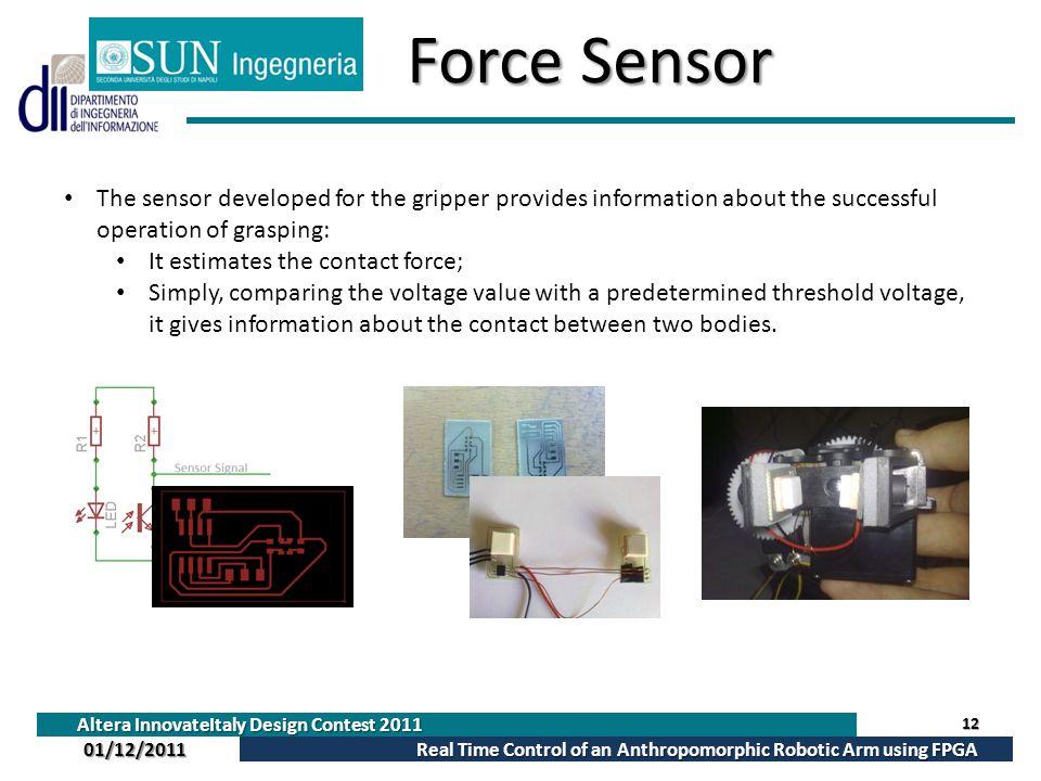 Altera InnovateItaly Design Contest 2011 Real Time Control of an Anthropomorphic Robotic Arm using FPGA 01/12/2011 Force Sensor 12 The sensor develope