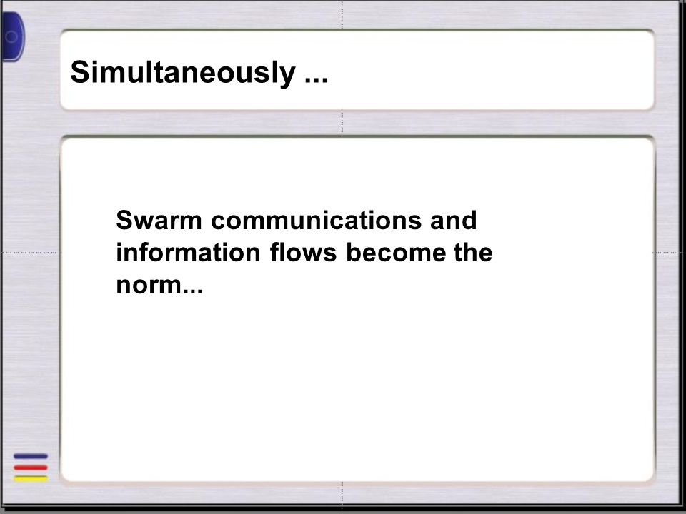 Simultaneously... Swarm communications and information flows become the norm...