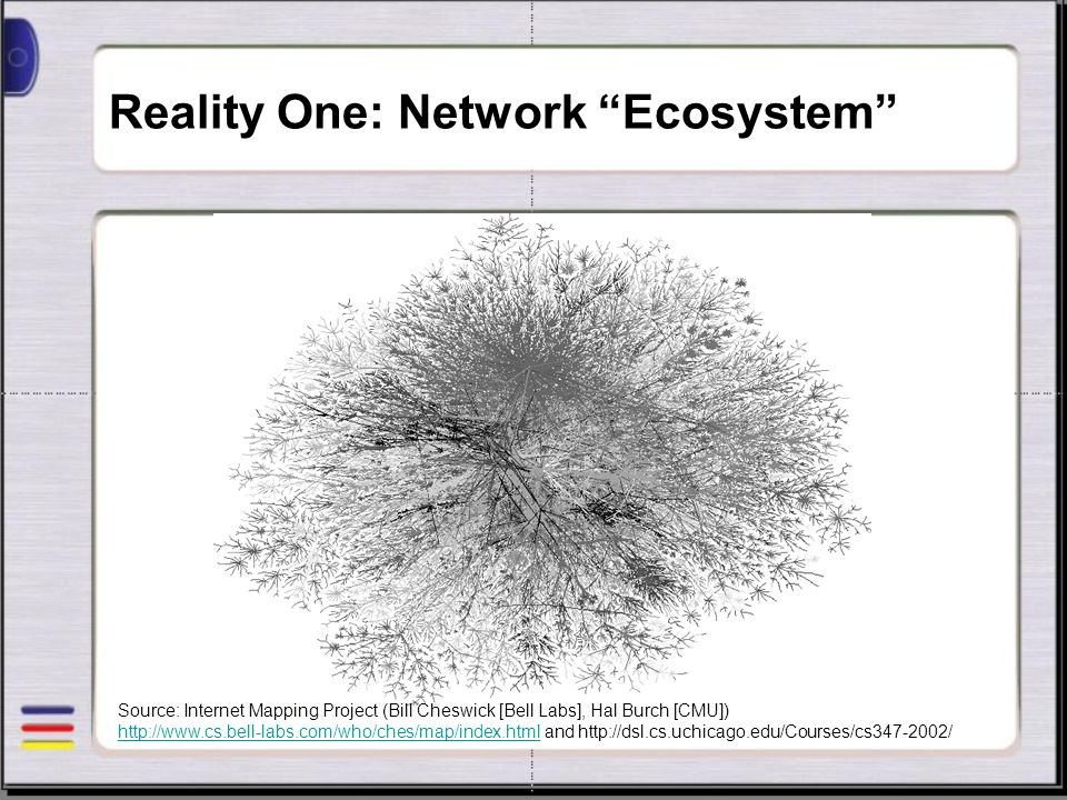 Reality One: Network Ecosystem Source: Internet Mapping Project (Bill Cheswick [Bell Labs], Hal Burch [CMU]) http://www.cs.bell-labs.com/who/ches/map/
